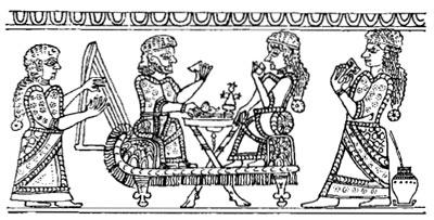 Сцена пира, выгравированная на луристяпской ситулс