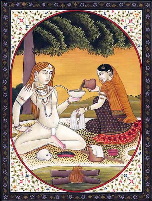 Парвати предлагает Шиве банг- индийский напиток из конопли