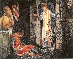 Ланселот, совершив подвиг поста и молитвы, наконец прибыл в замок Грааля.