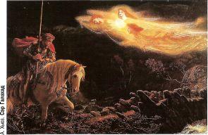 Ланселот, совершив подвиг поста и молитвы, наконец прибыл в замок Грааля. Запятнанный грехом, он не смог войти, но ему было даровано видение. Он попытался подойти ближе, но был поражен вспышкой пламени и ослеп на 24 дня.