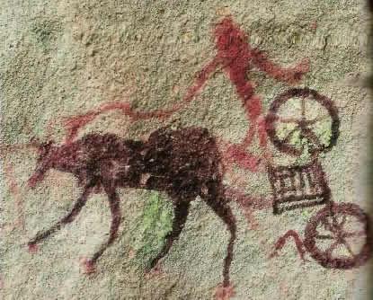 наскальный рисунок повозки II тыс. до н.э.,