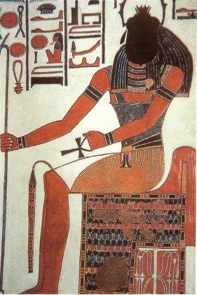 Изображение бога Хепри. Фрагмент росписи из гробницы Нефертари