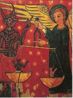 Весы в христианстве - это и символ воздаяния за земные грехи в загробной жизни. Души умерших на Страшном суде взвешивает архангел Михаил