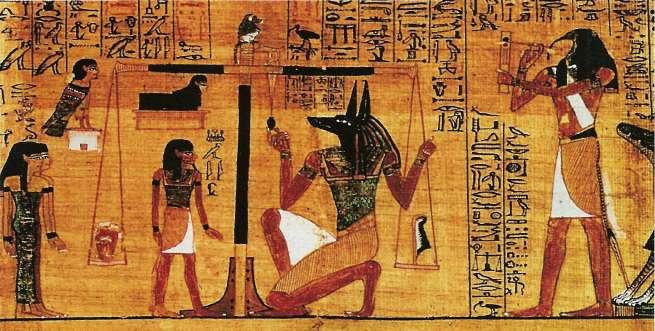 На загробном суде Осириса на одну чашу весов клали сердце покойного, на другую - статуэтку богини истины и порядка Маат. Или ее атрибут - страусовое перо