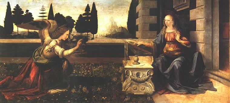 Благовещение работы Леонардо