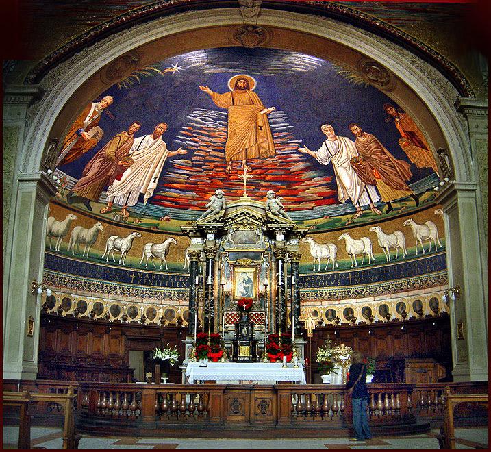 Мозаика VI в. с изображением второго пришествия Христа в базилике Косьмы и Дамиана (Santi Cosma e Damiano, Санти-Косма-э-Дамиано) — древняя христианская церковь в Риме, на форуме Веспасиана.