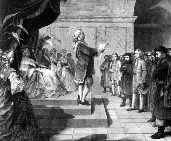 Обнародование манифеста Екатерины II по делу Д.Н.Салтыковой 18 октября 1768