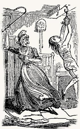 """салтычиха за """"работой"""". лубочная картинка 19 века"""